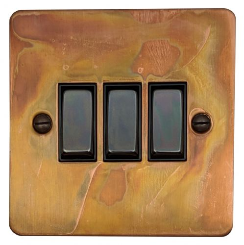 G&H FTC303 Flat Plate Tarnished Copper 3 Gang 1 or 2 Way Rocker Light Switch